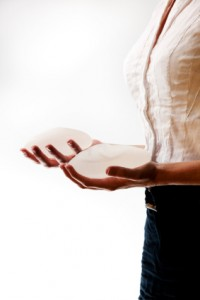 Woman with breast implants